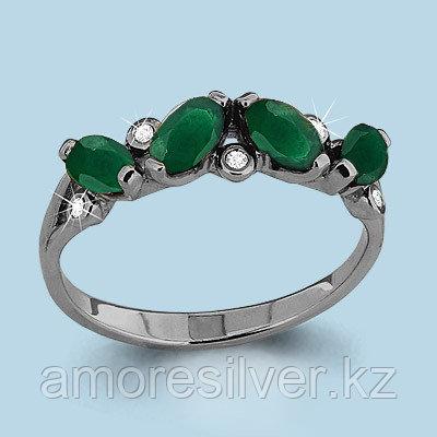 Кольцо Аквамарин серебро с родием, фианит, дорожка 6525509.5