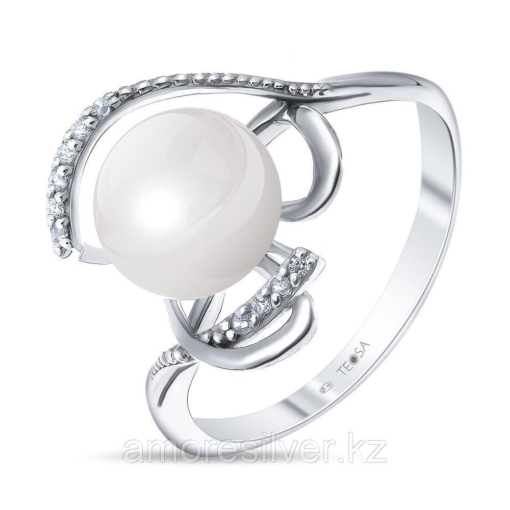"""Кольцо Teosa серебро с родием, фианит, """"линии"""" 190-5-371Р"""