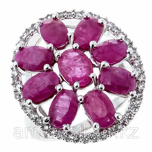 Кольцо Teosa серебро с родием, рубин фианит, флора DRGS00062-R-RB