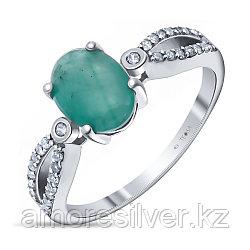 """Кольцо Teosa серебро с родием, изумруд фианит, """"halo"""" R-DRGR00749-EM"""