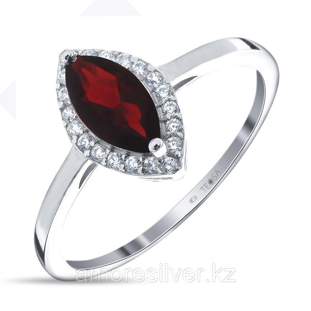 """Кольцо Teosa серебро с родием, гранат фианит, """"halo"""" R-DRGR00669-GR"""