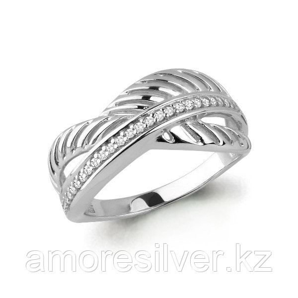 Кольцо Аквамарин серебро с родием, фианит, геометрия 64511А.5