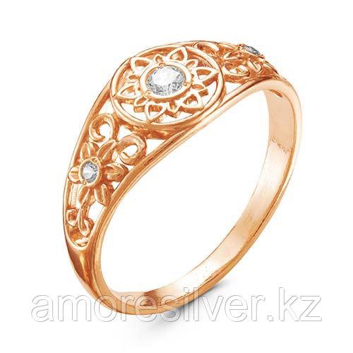 Кольцо Красная Пресня серебро с позолотой, фианит, ажурное 2388859