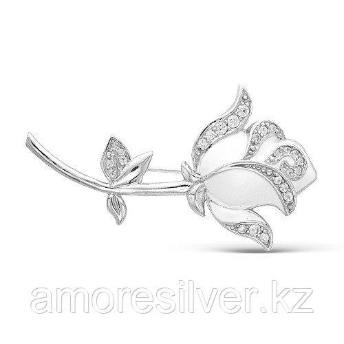 Брошь Красная Пресня серебро с родием, фианит, флора 1387806Д