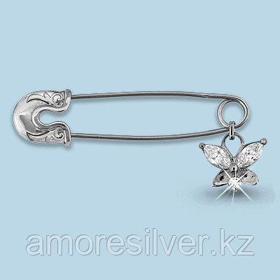 Брошь Aquamarine серебро с родием, фианит, бабочка 72603.5
