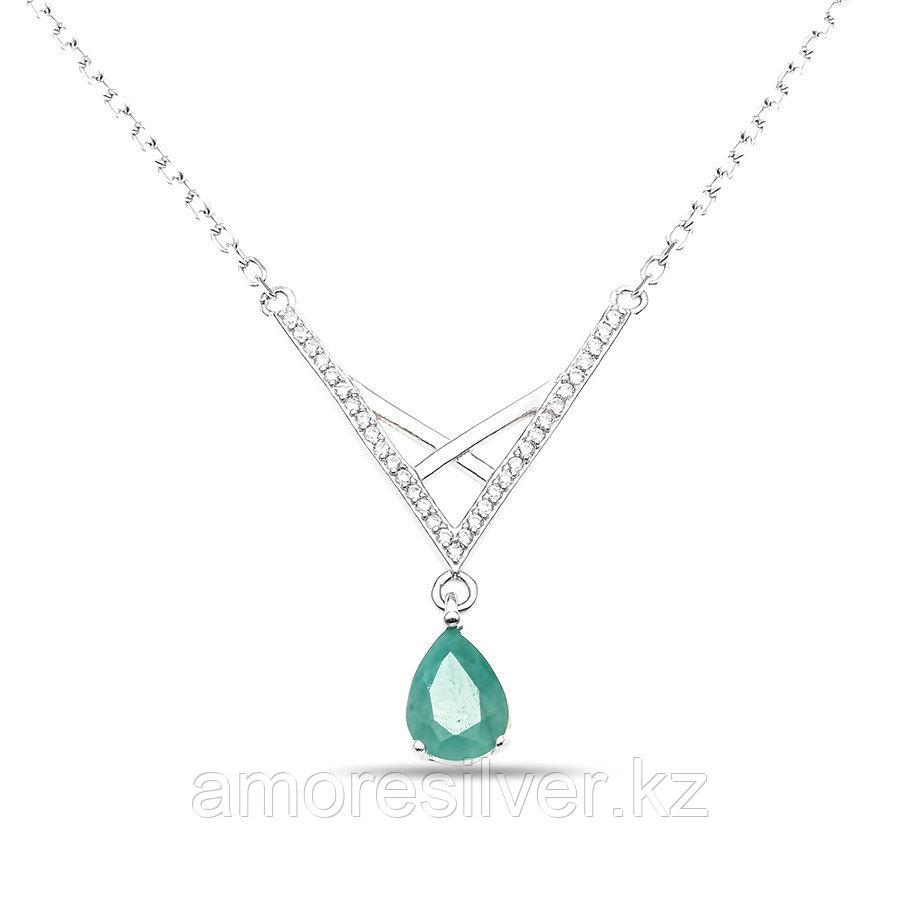 """Колье Teosa серебро с родием, изумруд фианит, """"halo"""" N-DRGR00825-EM"""
