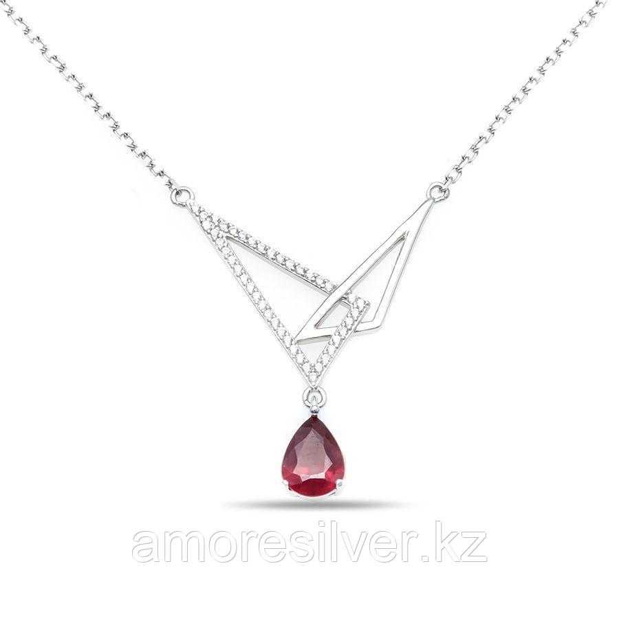 "Колье Teosa серебро с родием, рубин фианит, ""halo"" N-DRGR00838-RB"