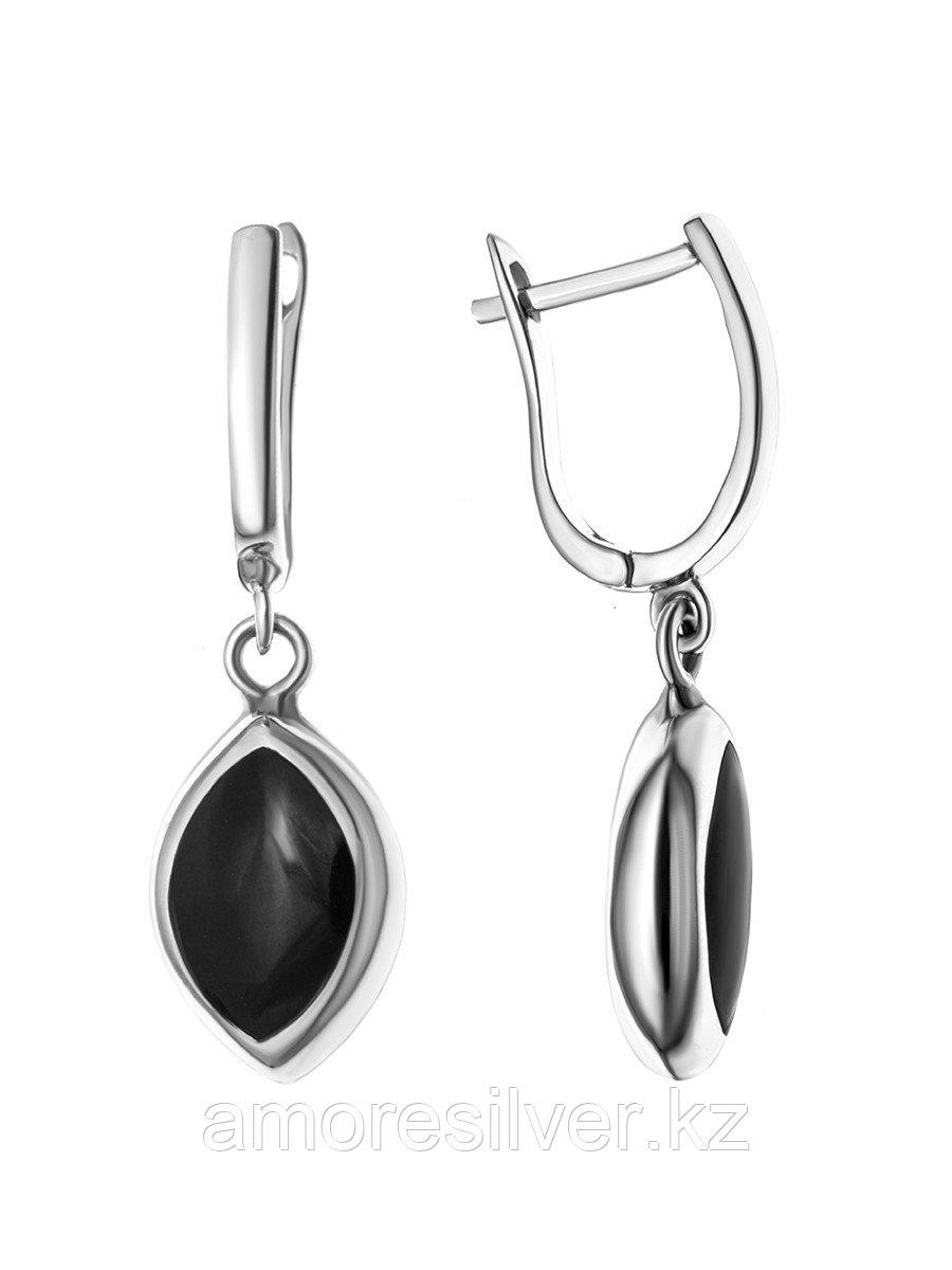 Серьги Teosa серебро без покрытия, оникс перламутр, овал JE20363-ON