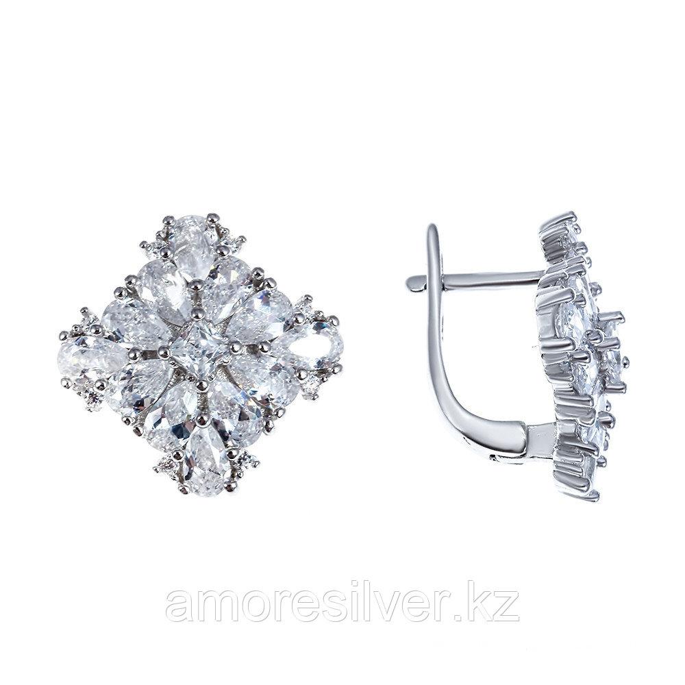 Серьги Teosa серебро с родием, фианит, геометрия BYNE2418