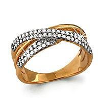 """Кольцо Аквамарин серебро с позолотой, фианит, """"линии"""" 63018А.6"""