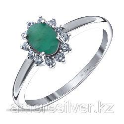 """Кольцо Teosa серебро с родием, изумруд фианит, """"halo"""" R-DRGR00682-EM"""