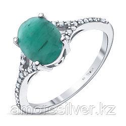 """Кольцо Teosa серебро с родием, изумруд фианит, """"halo"""" R-DRGR00754-EM"""