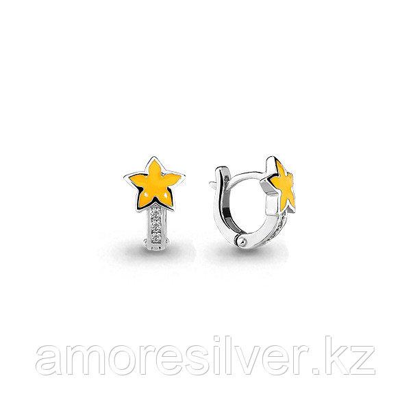 """Серьги Аквамарин серебро с родием, фианит, """"звезда"""" 45870А.5"""