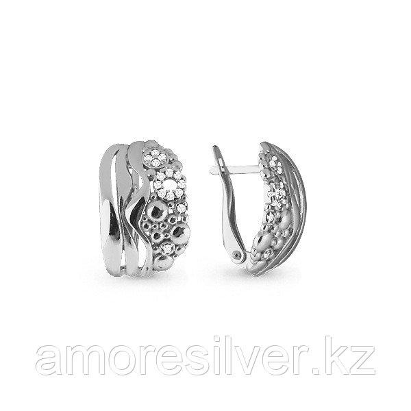 Серьги Аквамарин серебро с родием, фианит, геометрия 45598А.5