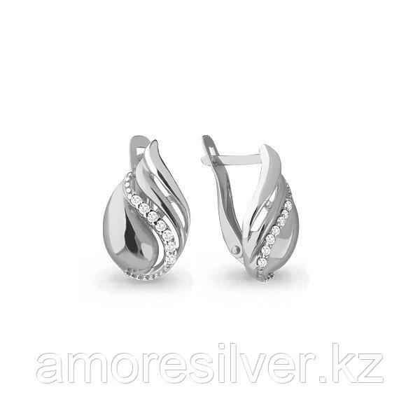 Серьги Аквамарин серебро с родием, фианит, геометрия 45762А.5