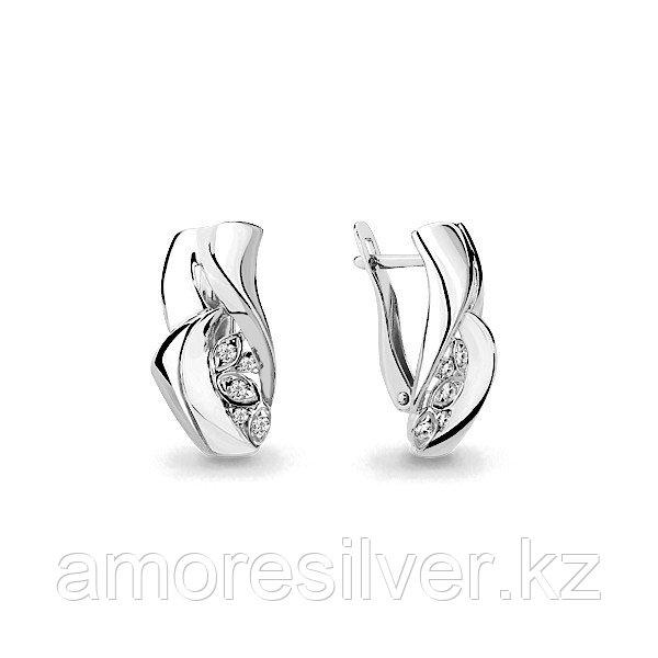 Серьги Аквамарин серебро с родием, фианит, геометрия 45948А.5