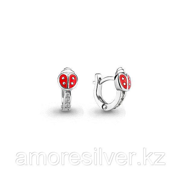 Серьги Аквамарин серебро с родием, фианит,  45871А.5