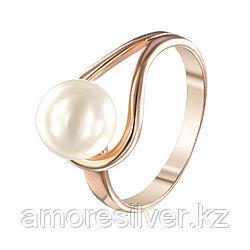Кольцо Красная Пресня серебро с позолотой, жемчуг имит., капля 2368827 размеры - 18