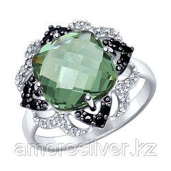 """Кольцо SOKOLOV серебро с родием, кварц синт. фианит , """"halo"""" 92011347 размеры - 17,5 18,5"""