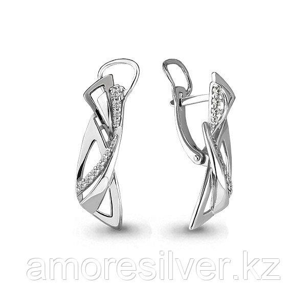 Серьги Аквамарин серебро с родием, фианит, геометрия 45815А.5