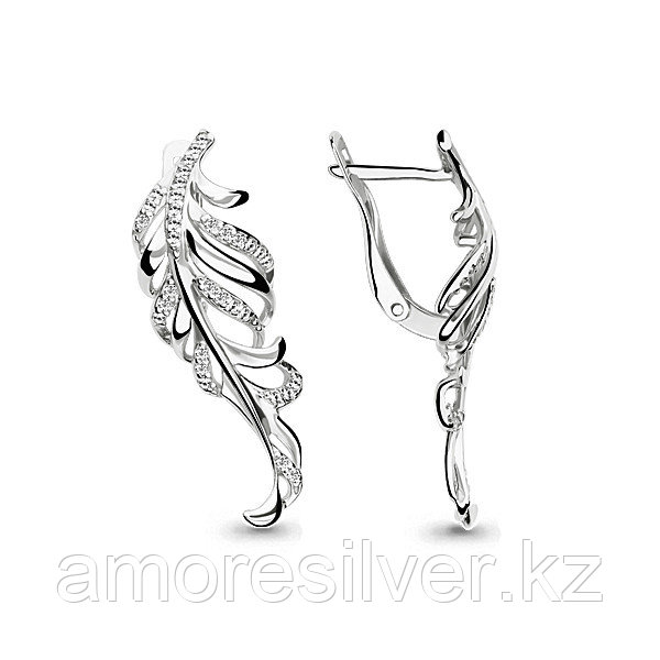 Серьги Аквамарин серебро с родием, фианит, флора 45819А.5