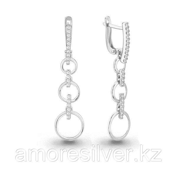 Серьги Аквамарин серебро с родием, фианит 45832А.5