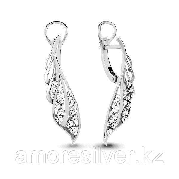 Серьги Аквамарин серебро с родием, фианит 45812А.5