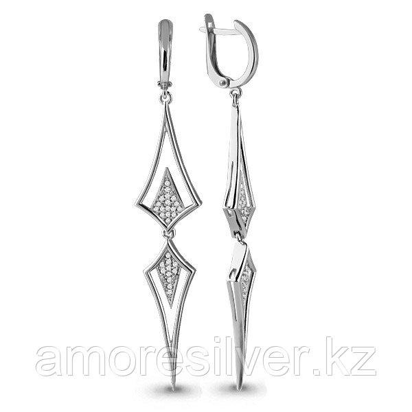 Серьги Аквамарин серебро с родием, фианит, треугольник 45467А.5