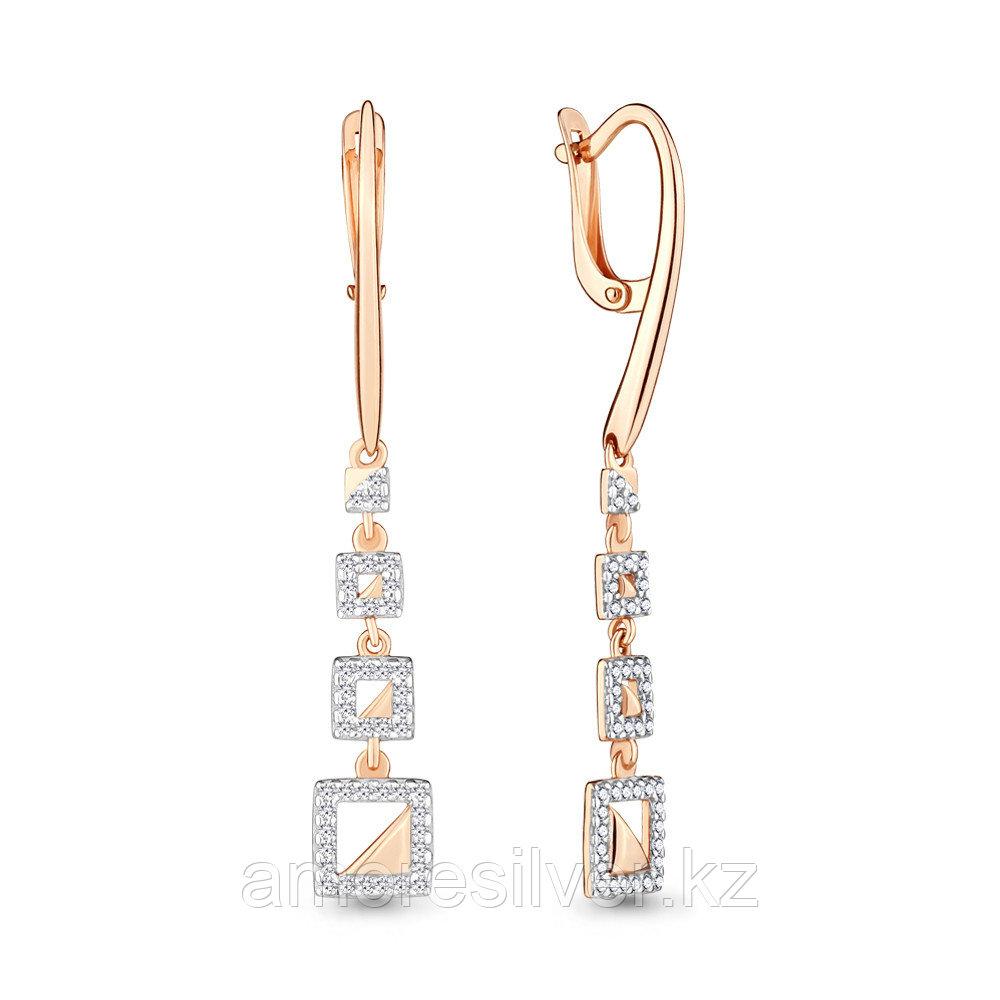 Серьги Аквамарин серебро с позолотой, фианит 46271А.6