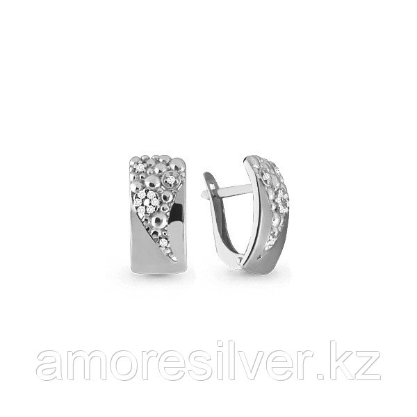 Серьги Аквамарин серебро с родием, фианит 45594А.5