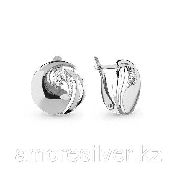 Серьги Аквамарин серебро с родием, фианит, круг 45767А.5