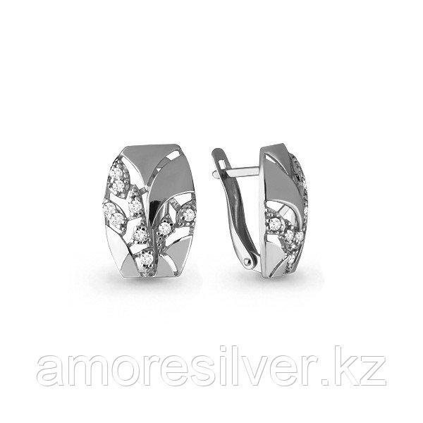 Серьги Аквамарин серебро с родием, фианит, геометрия 45769А.5