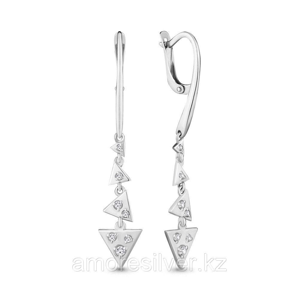 Серьги Аквамарин серебро с родием, фианит, геометрия 46267А.5
