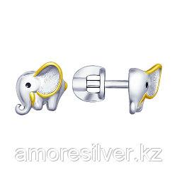 Серьги SOKOLOV серебро с родием, эмаль, фауна 94022759