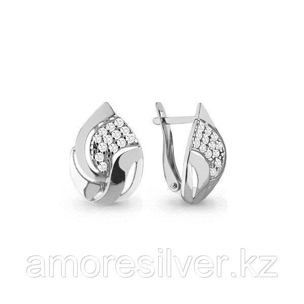 Серьги Аквамарин серебро с родием, фианит, геометрия 45761А.5
