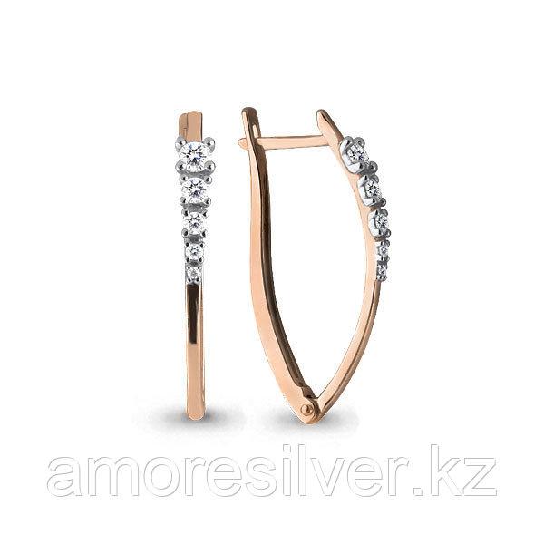 Серьги Аквамарин серебро с позолотой, фианит 45579А.6