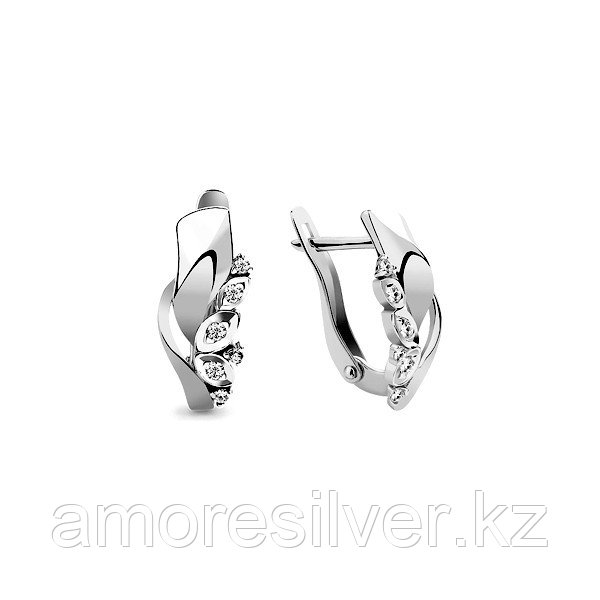 Серьги Аквамарин серебро с родием, фианит, геометрия 45947А.5