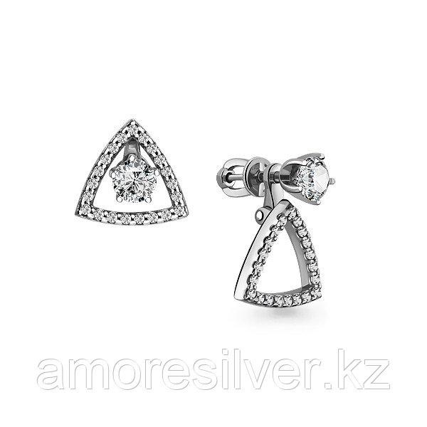 Серьги Аквамарин серебро с родием, фианит, треугольник 46017А.5