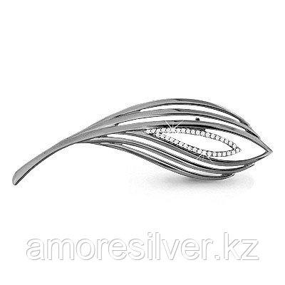 Брошь Аквамарин серебро с родием, фианит, флора 72560А.5