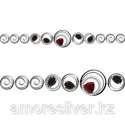 Браслет Аквамарин серебро с родием, гранат фианит, многокаменка 7422836А.5