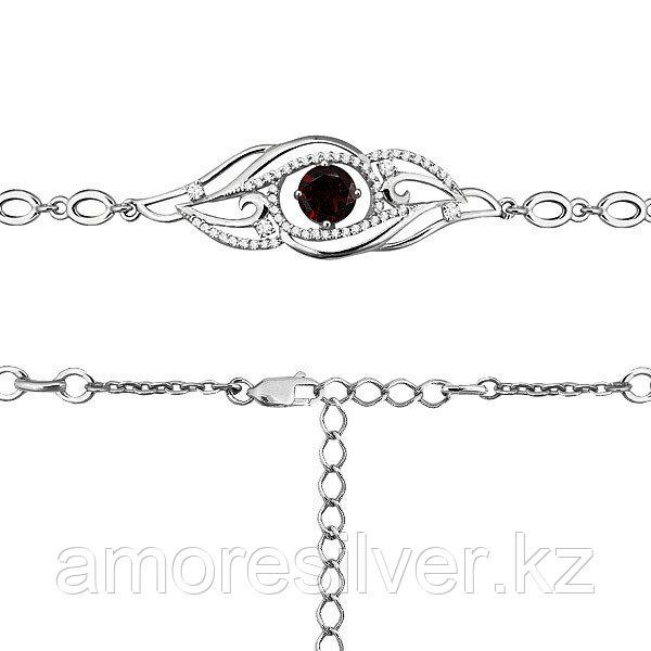"Браслет Аквамарин серебро с родием, гранат фианит, ""halo"" 7413703А.5"