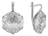 Серьги Невский серебро с родием, горный хрусталь, круг 43502ВР