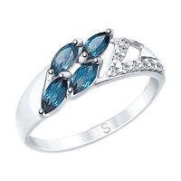 Кольцо SOKOLOV серебро с родием, топаз фианит , многокаменка 92011642 размеры - 16 16,5 17