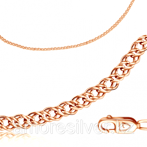 Браслет Бронницкий ювелир серебро с позолотой, без вставок, ромб двойной V1060050118 размеры - 18