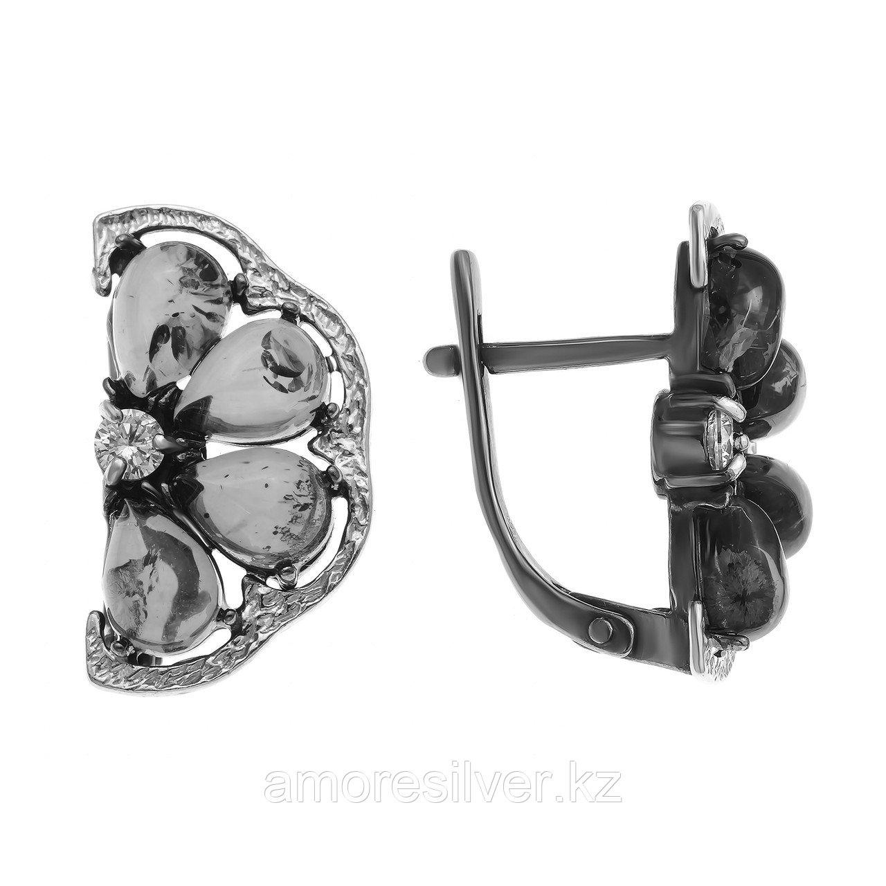 Серьги Amulet серебро без покрытия, янтарь, флора 2.19