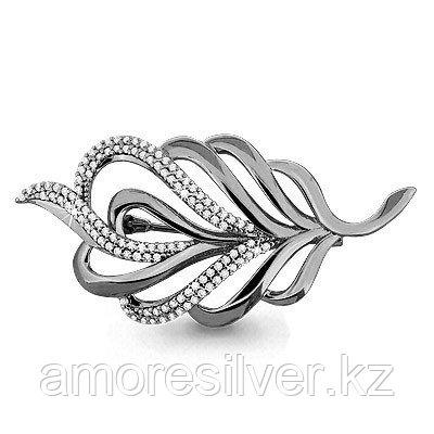 Брошь Aquamarine серебро с родием, фианит, флора 72558А.5