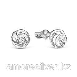 """Серьги Teosa серебро с родием, бриллиант, """"каратник"""" 121-1652-DN-r"""