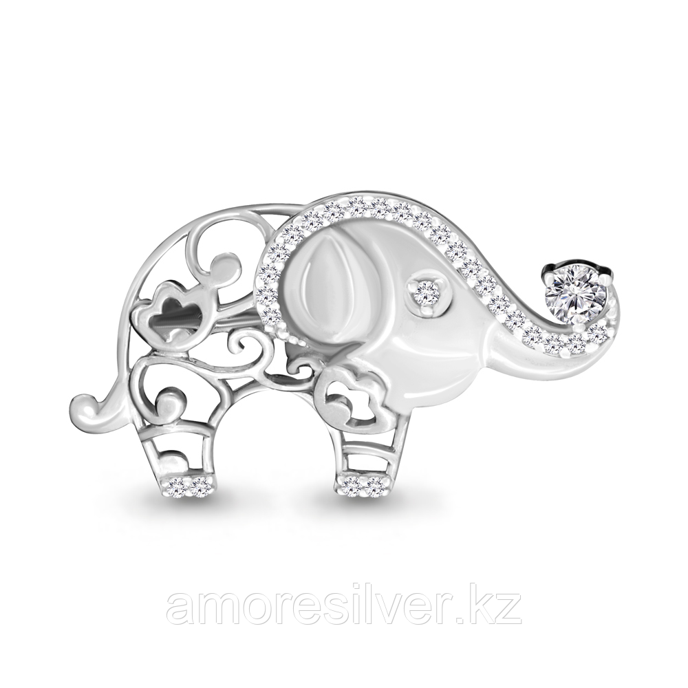 Брошь Аквамарин серебро с родием, фианит, фауна 77300А.5