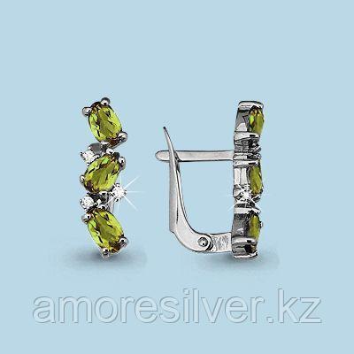 Серьги Аквамарин серебро с родием, фианит, многокаменка 4429907А.5