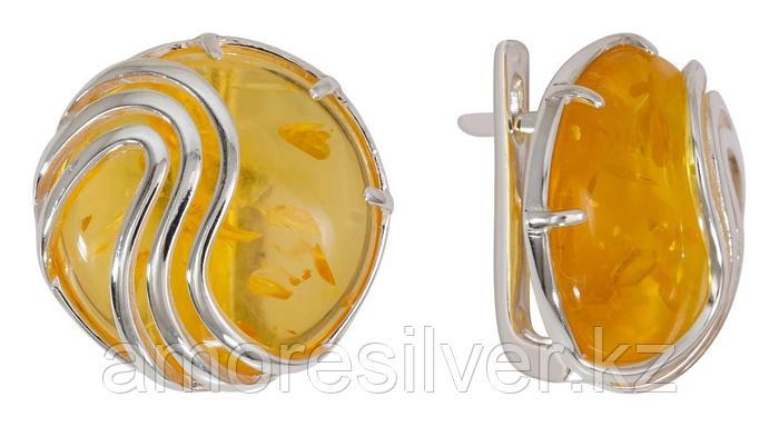 Серьги Невский серебро с родием, гематит, круг 43464